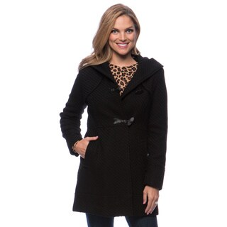 Jessica Simpson Women's Braided Wool Duffle Faux Leather Toggle Coat