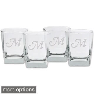 Culver Deep Etched Double Old Fashioned Monogrammed Letter Glass (Set of 4)