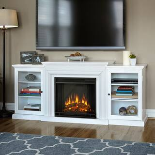 Real Flame Frederick White Entertainment Center Electric 72-inch Fireplace