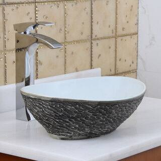 Elite 1574 Oval grey / White Porcelain Ceramic Bathroom Vessel Sink