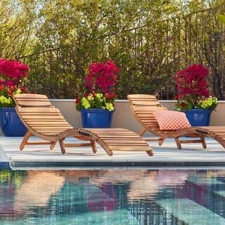 Christopher Knight Home Lahaina Outdoor Acacia Wood Chaise Lounge (Set of 2)