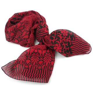 Handmade Deep Red and Black Floral Design Cotton Scarf (India)