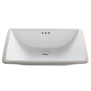 Kraus Elavo White Ceramic Large Rectangular Undermount Bathroom Sink w/ Overflow