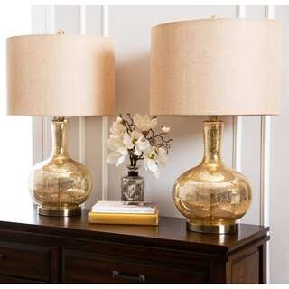 ABBYSON LIVING Gold Mercury Glass Table Lamp (Set of 2)