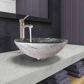 VIGO Titanium Glass Vessel Bathroom Sink and Milo Faucet Set in Brushed Nickel Finish