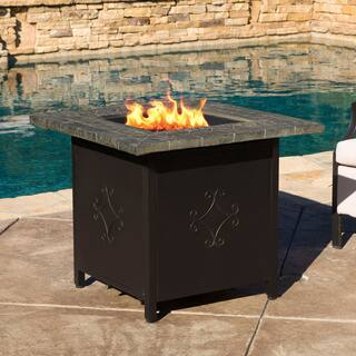 Christopher Knight Home Tiburon Outdoor 30-inch Square Propane Fire Pit with Lava Rocks