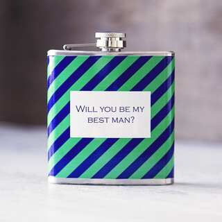 Will You Be My Best Man? Green on Navy Tie Pattern Flask