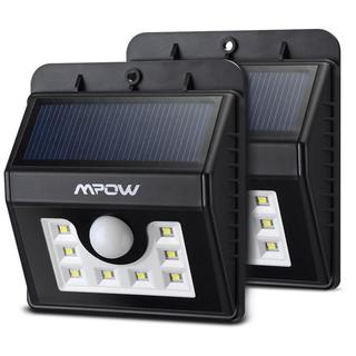 Mpow Super Bright 8 LED Solar Powered Weatherproof Outdoor Motion Sensor Security Light (Pack of 2)