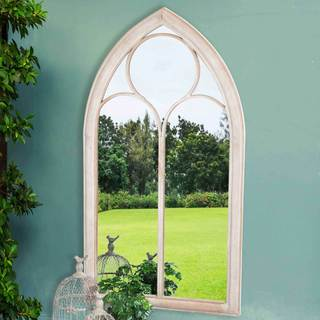 Sunjoy Cathedral Windowpane Style Garden Mirror Made of Metal with Antique Finish, 45 Inches.