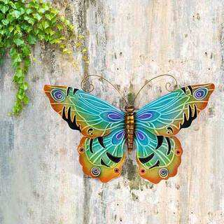 Sunjoy 22-inch Blue Butterfly Hand-Painted Iron Outdoor Wall Decor Set