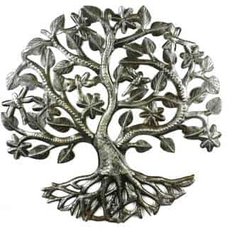 Handcrafted 14-inch Tree of Life with Dragonflies (Haiti)