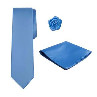 Jacob Alexander Solid-colored Tie, Hanky and Lapel Flower Set