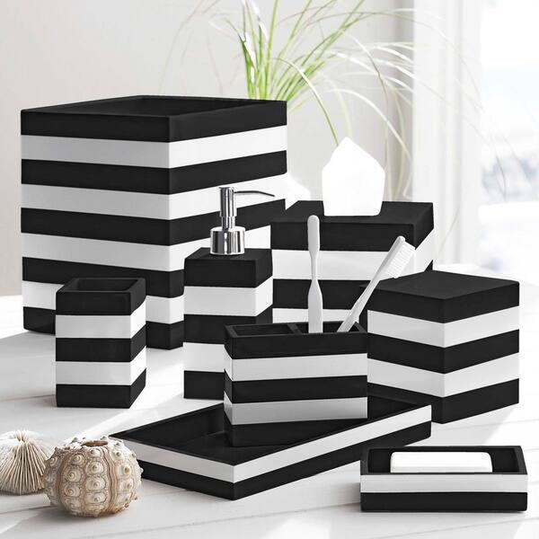 Coastal Stripe Black White Bathroom, Black And White Bathroom Set