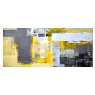 Designart 'Grey and Yellow Blur Abstract' Abstract Metal Wall Art