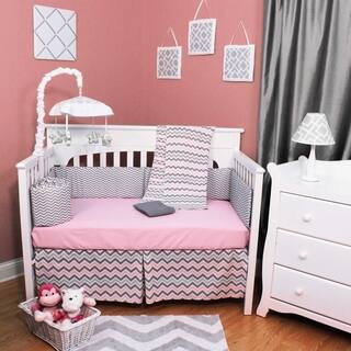 Chevron Zig Zag Pink/Gray 5-piece Baby Crib Bedding Set with Bumper