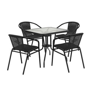 Offex Rattan Egde Square 5-piece Table and Stackable Chairs Set