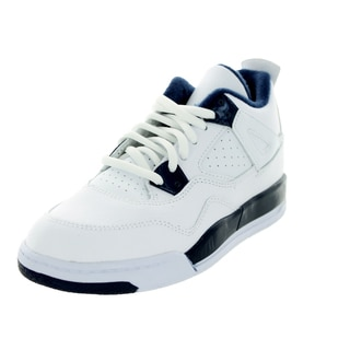 Nike Jordan Kid's Jordan 4 Retro Ls Bp White/Legend Blue/Mdnght Navy Basketball Shoe