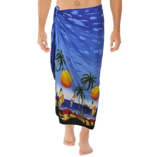 La Leela Men's Blue Silk Coconut Tree Beach Sarong Swim Wrap