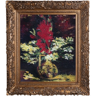 Vincent Van Gogh 'Vase with Gladioli and Carnations' Hand Painted Framed Canvas Art
