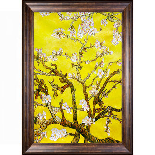 La Pastiche Original 'Branches of an Almond Tree in Blossom, Citrine Yellow' Hand Painted Framed Canvas Art