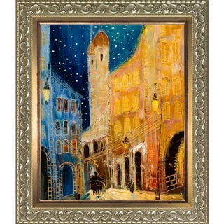Justyna Kopania 'Old Town' Hand Painted Framed Canvas Art