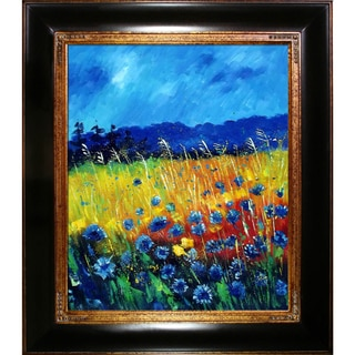 Pol Ledent 'Cornflowers 45' Hand Painted Framed Canvas Art