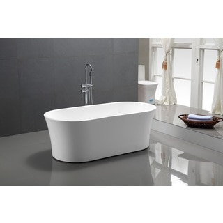 Vanity Art White Acrylic 63-inch Freestanding Soaking Bathtub