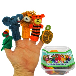 ThumbThings Handmade Finger Puppets, Set of 5: Macaw, Elephant, Lion, Tiger, Tortoise (Peru)
