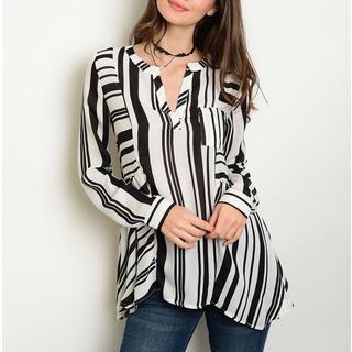 JED Women's Black and White Polyester Long-sleeve Trapeze Tunic Shirt