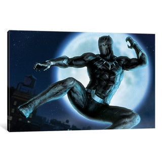 iCanvas Avengers Assemble: Black Panther Situational Art: Classic Jumping Through The Air Pose by Marvel Comics Canvas Print