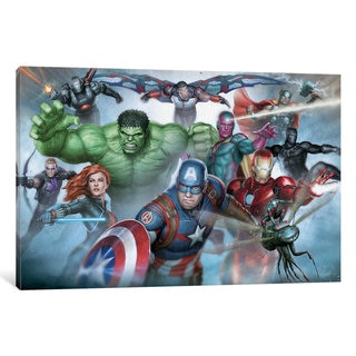 iCanvas Avengers Assemble: Classic Full Team In Zoom Situational Art by Marvel Comics Canvas Print