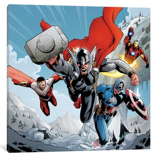 iCanvas Avengers Assemble: Team Charge Classic Panel Art by Marvel Comics Canvas Print