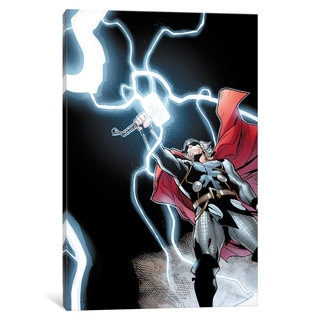 iCanvas Avengers Assemble: Thor Panel Art: Classic Mjolnir Raised Pose by Marvel Comics Canvas Print