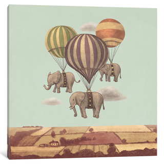 iCanvas Flight Of The Elephants Mint Square by Terry Fan Canvas Print