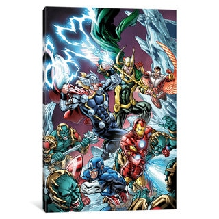 iCanvas Avengers Assemble: Battle With Loki And His Green Army Classic Panel Art by Marvel Comics Canvas Print