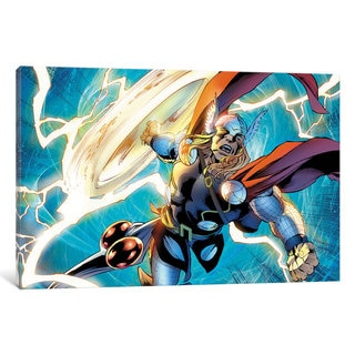 iCanvas Avengers Assemble: Thor Panel Art: Swinging Hammer While Flying Through The Air by Marvel Comics Canvas Print