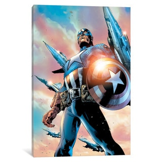 iCanvas Avengers Assemble: Captain America Panel Art: Classic Pose With Flying Jets by Marvel Comics Canvas Print