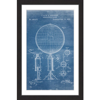 Marmont Hill - 'Globe 1892 Blueprint' by Steve King Framed Painting Print