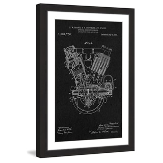 Marmont Hill - 'Engine 1914 Black Paper' by Steve King Framed Painting Print