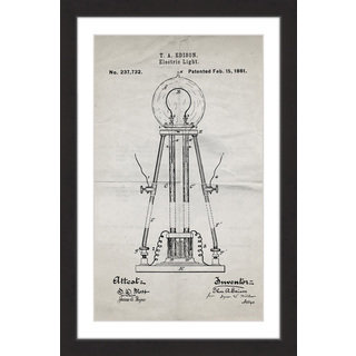 Marmont Hill - 'Edison Light 1881 Old Paper' by Steve King Framed Painting Print