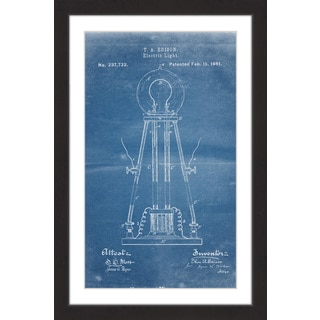 Marmont Hill - 'Edison Light 1881 Blueprint' by Steve King Framed Painting Print
