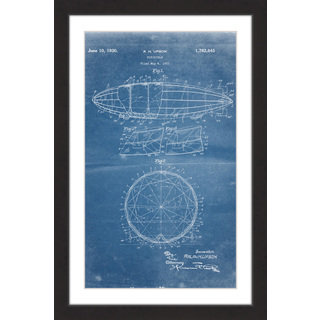 Marmont Hill - 'Dirigible 1922 Blueprint' by Steve King Framed Painting Print