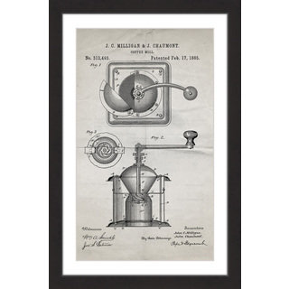 Marmont Hill - 'Coffee Mill 1885 Old Paper' by Steve King Framed Painting Print
