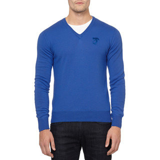 Versace Collection Blue Medusa Wool Sweater