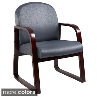 Boss Sled Base Mahogany Wood Reception Chair