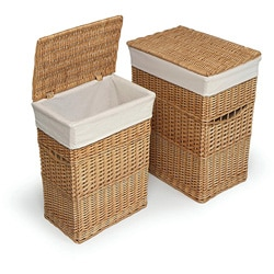Natural Hamper with Liners (Set of 2)
