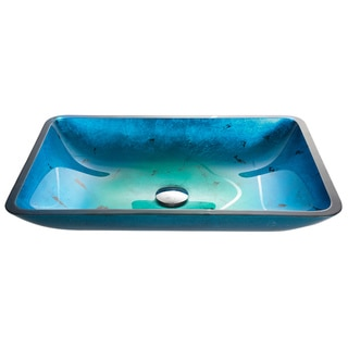 Kraus Irruption Blue Rectangular Glass Vessel Sink with PU Chrome