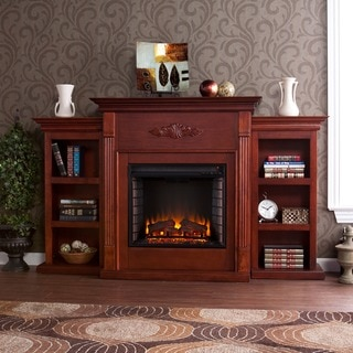 Upton Home Dublin 70-inch Mahogany Bookcase/ Electric Fireplace with Remote