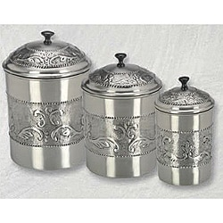 Pewter-plated 3-piece Embossed Steel Canister Set