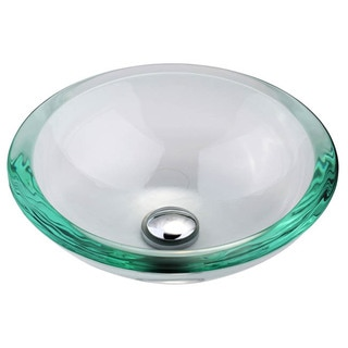 Kraus Scuare Clear Aquamarine Glass Vessel Sink with 34-mm Edge
